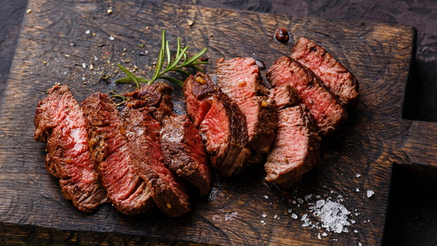 Sliced grilled steak roastbeef and rosemary
