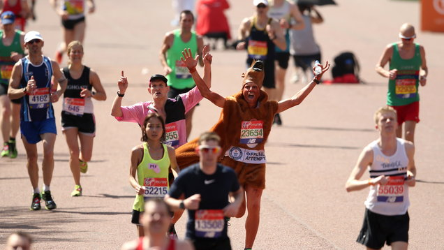 Diane crosses the line at hottest London Marathon ever