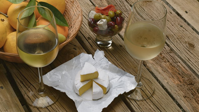 Wine and cheese testing, concept.