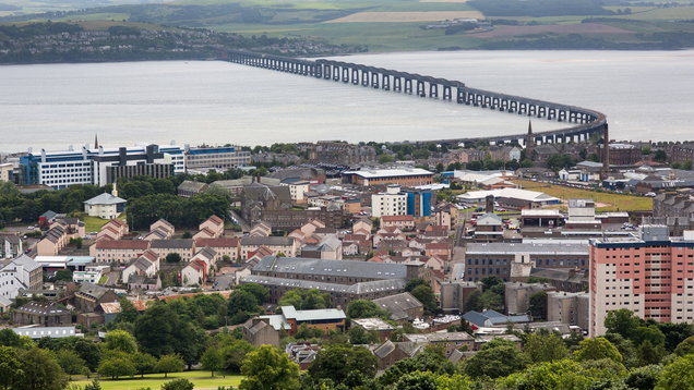 Panoramic shot of the Tay Rail Bridge of f Dundee