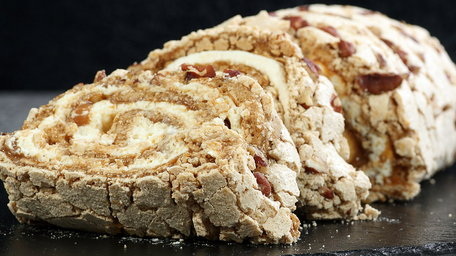 Meringue Roulade with Toasted Almonds