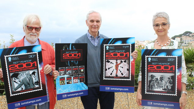 Jan Harlan, Keir Dullea and Katharina Kubrick with the stamps