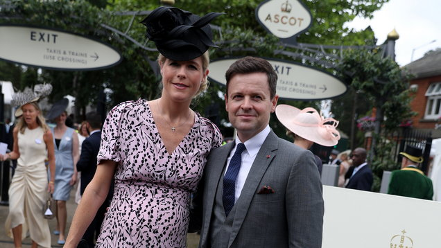 Pregnant Ali Astall pictured at Ascot alongside husband Declan Donnelly