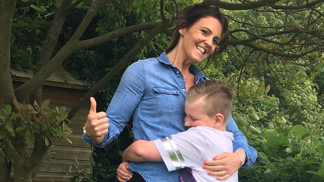 Mum shares first proper hug with her son after 'mortifying' video prompted her to shed 12 stone