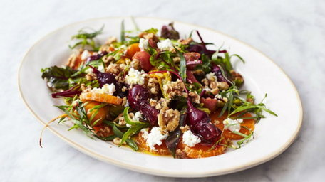Goat's Cheese Salad with Marinated Beetroot and Pickled Carrot