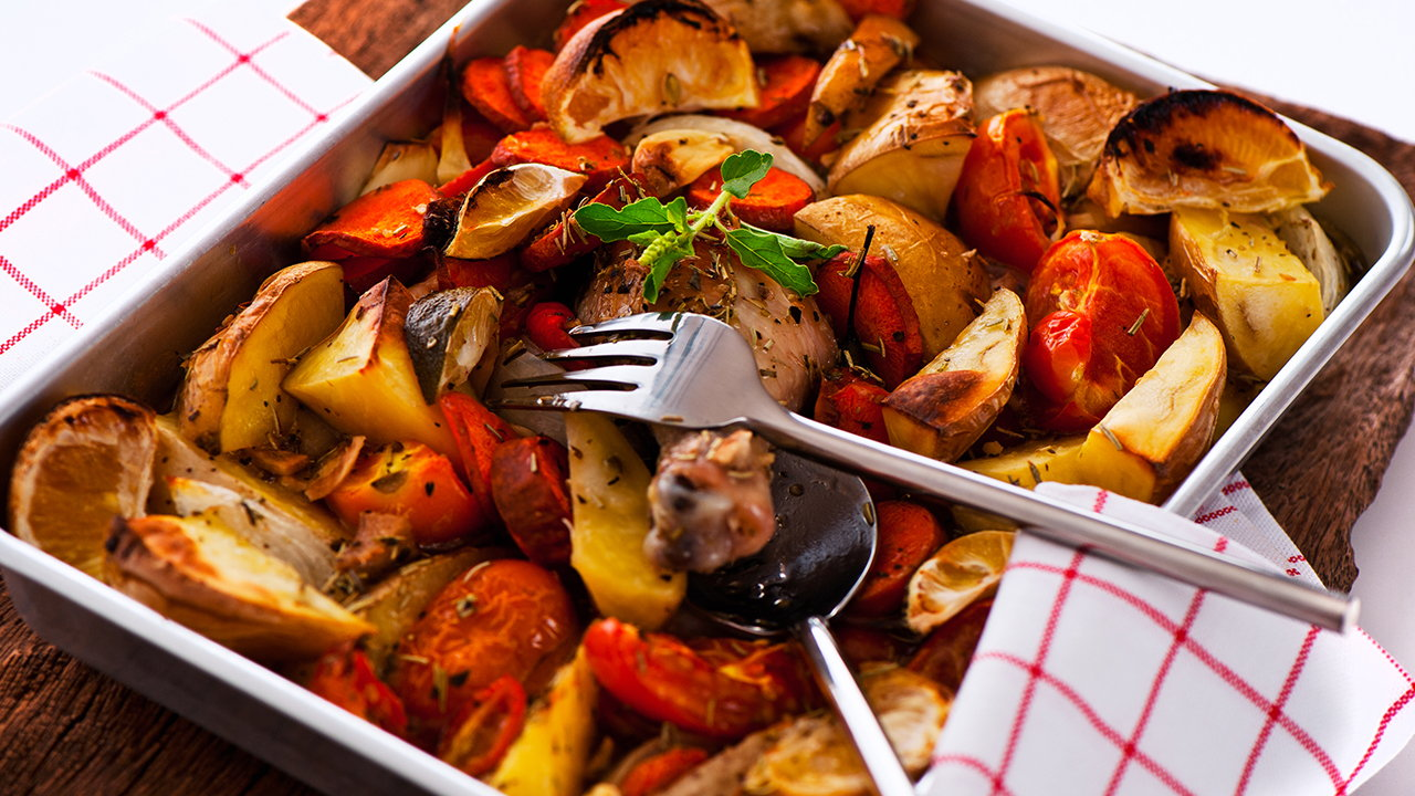 Chicken and spiced vegetable tray bake