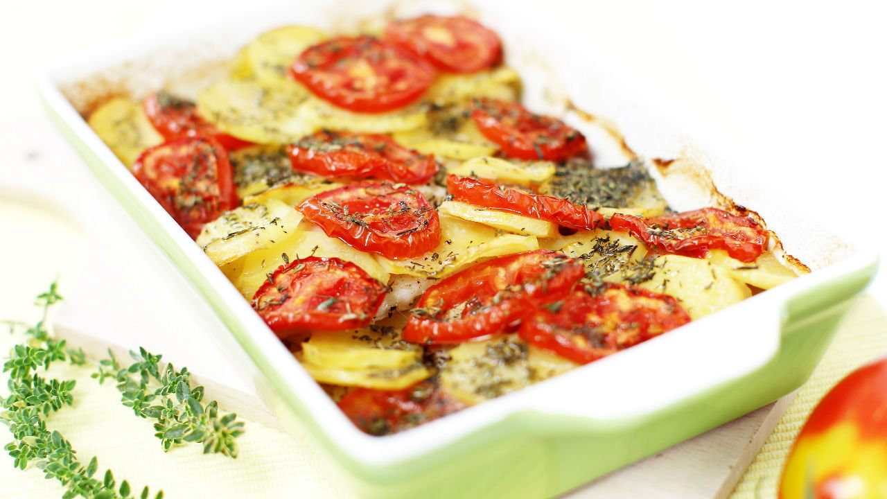 Baked Fish with Vegetables and Mustard