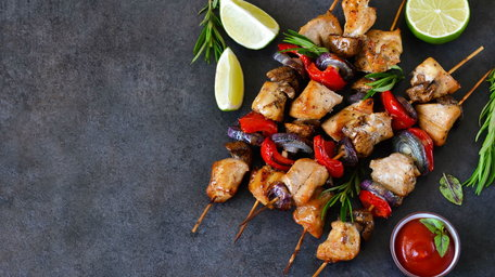 Joe's Summer Chicken, Pineapple and Red Pepper Skewers with a Sticky Sauce