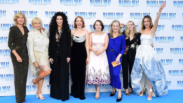 Christine Baranski, Judy Craymer, Cher, Jessica Keenan Wynn, Alexa Davies, Meryl Streep, Amanda Seyfried and Lily James attending the premiere of Mamma Mia! Here We Go Again (Ian West/PA)