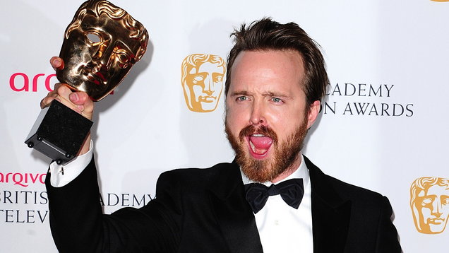 Aaron Paul with the International Award for Breaking Bad (Ian West/PA)