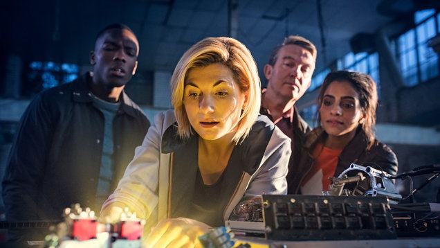 Jodie Whittaker and her sidekicks (Sophie Mutevelian/BBC)