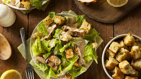 Homemade Caesar Salad with Oven Poached Chicken