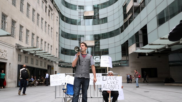Comedian Luke McQueen outside BBC's New Broadcasting House (Andrew Matthews/PA)