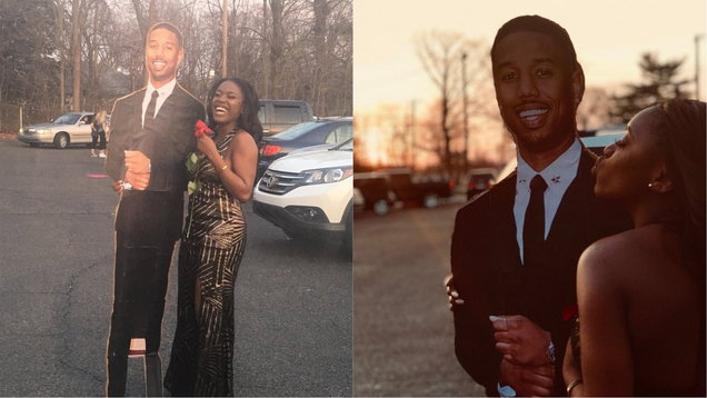 A prom attendee with a cardboard cutout of Michael B. Jordan