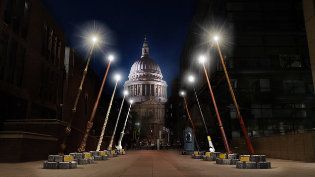 Giant Harry Potter wands light up London for JK Rowling charity Lumos