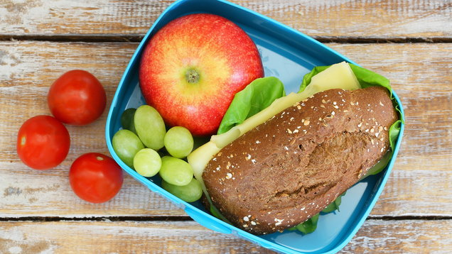 Lunch box consisting of wholegrain cheese sandwich, fruit, cherry tomatoes