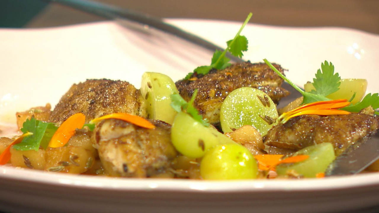 Indian Style Mackerel with Gooseberry Chutney & Grape Salad