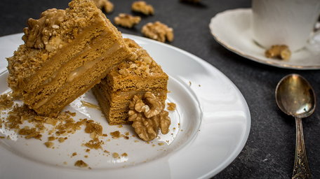 Coffee and walnut tray bake