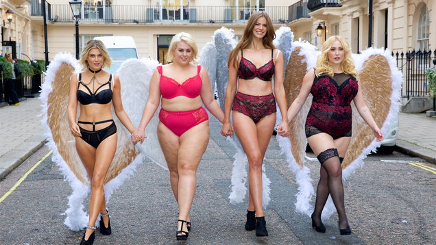 This morning online fashion retailer, Simply Be, held their lingerie catwalk show 'We're All Angels' - the most inclusive lingerie presentation of the season, featuring models from a size 10-22, London.
