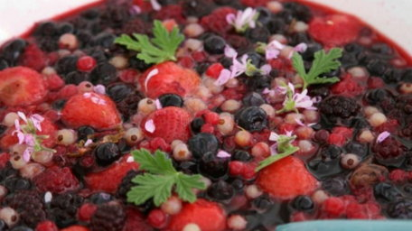 Summer or Winter Fruit Salad with Rose Geranium