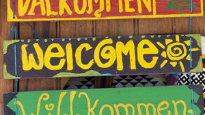 Hello wooden signs in various languages