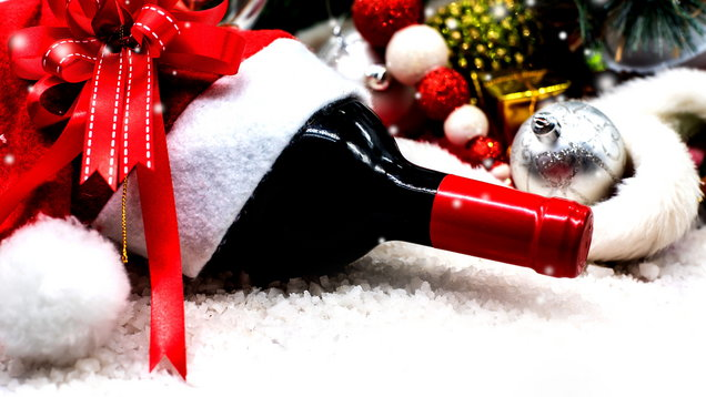 Merry Christmas and Happy new year with wine