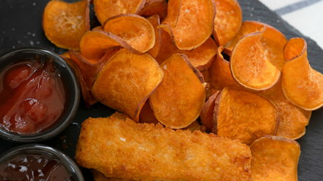 Panko Cod Fingers with Sweet Potato Wedges