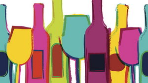 Abstract watercolor seamless background, colorful wine bottles and glasses.