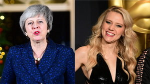 Prime Minister of the United Kingdom Theresa May and comedian Kate McKinnon