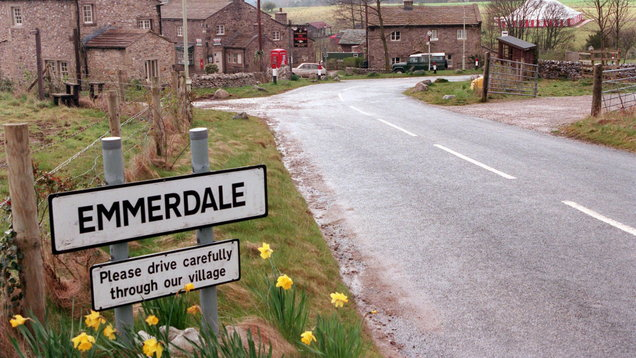 ITV handout of a sign in the village of Emmerdale