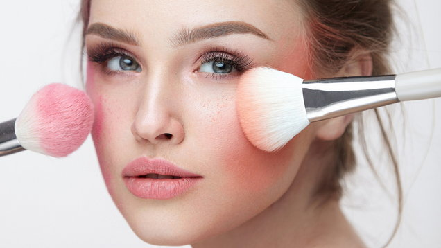 Face Beauty Cosmetics. Beautiful Girl With Makeup Applying Blush