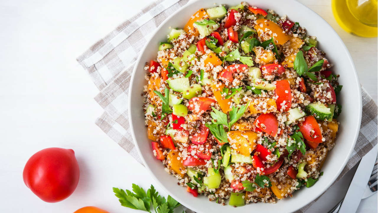 Superfood Salad with Quinoa & Spelt Berries, served with Butternut Squash