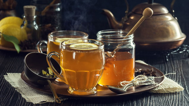 Two Hot Toddies or Lemon Spice Herbal Teas with Honey