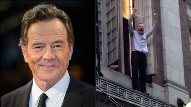 Bryan Cranston climbs out on to small ledge to cheer Women's March