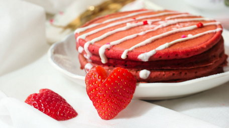 Valentine's Red Velvet Pancakes with a Maple & Cream Cheese Syrup