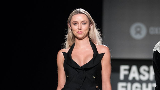 Una Healy on the catwalk during the Oxfam Fashion Fighting Poverty show