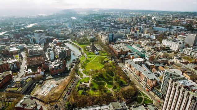 Bristol City Center Aerial View in England