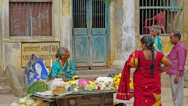 Women sell flowers in Chennai, India (Harriet Line/PA)