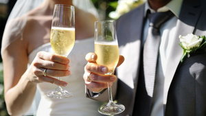 Bride and groom making a toast with champagne
