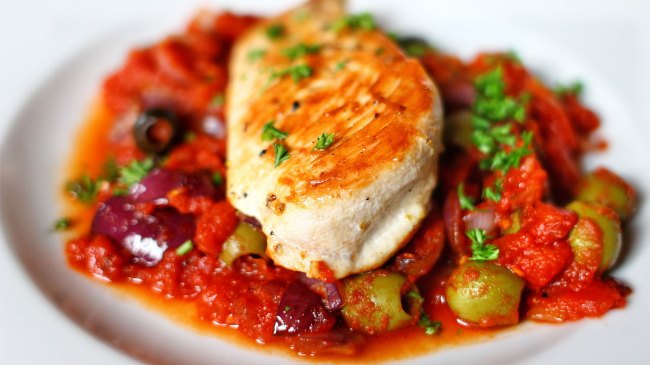Mediterranean Stuffed Chicken with Tomato & Red Pepper Compote