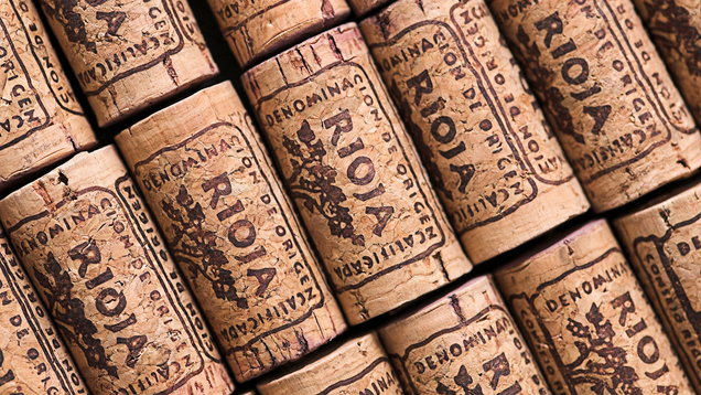 Rioja corks lined up in rows neatly and diagonally