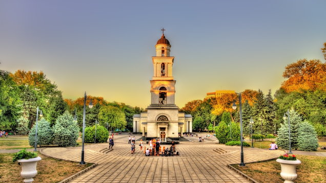 Bell tower of the Nativity Cathedral in Chisinau – Moldova