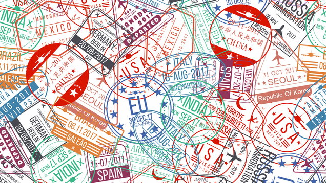 Passport stamp seamless pattern. International arrivals sign rubber, visa airport stamps and watermarks
