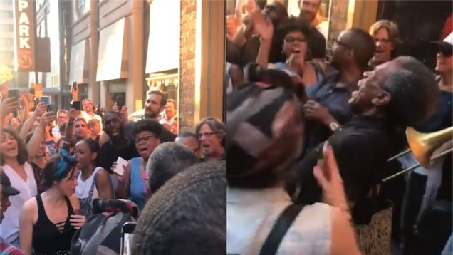 Hadestown cast members sing a song about the power outage in Manhattan on Saturday evening