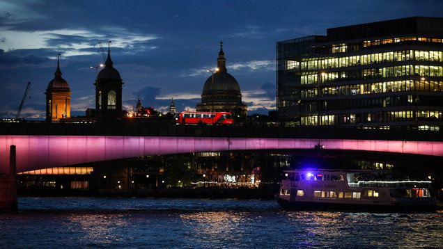London Bridge, one of four bridges which have been transformed to launch the first phase of Illuminated River