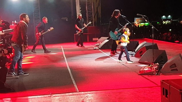 Taylor Blackburn, 5, joins the Foo Fighters on stage in Belfast
