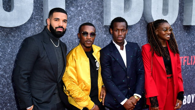 Drake, Ashley Walters, Micheal Ward and Little Simz attending the UK premiere of Top Boy