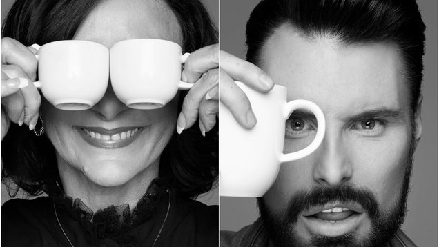 Shirley Ballas and Rylan Clark-Neal pose for Rankin for Macmillan Coffee Morning