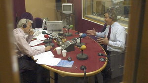 Tony Blair (right) during an interview with John Humphrys on BBC Radio 4's Today programme in 2005 (Jeff Overs/PA)