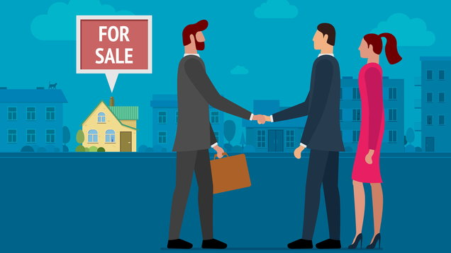 Man selling or renting house to young person couple family. Man and woman buying home and made deal with real estate agency realtor manager. Vector Illustration